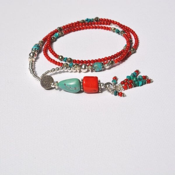wonderful turquoise coral earrings African Goddess